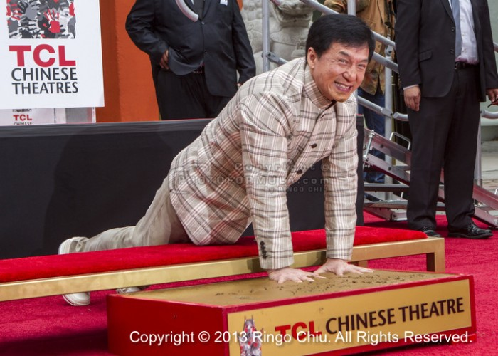 Jackie Chan immortalized in cement in Hollywood